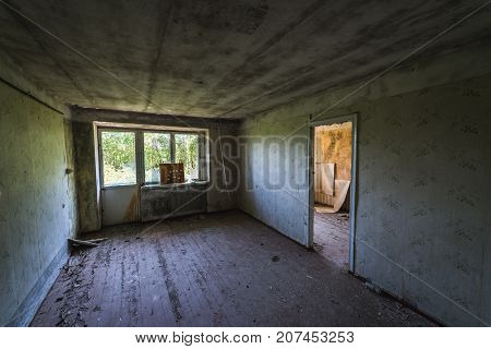 Room of apartment building in Skrunda ghost town former USSR military base in Lativa