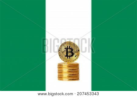 Bitcoin. Bitcoin on the Nigeria flag background