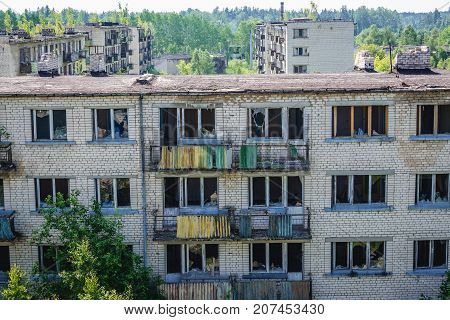 Residential buildings in abandoned former Soviet military town Skrunda in Latvia