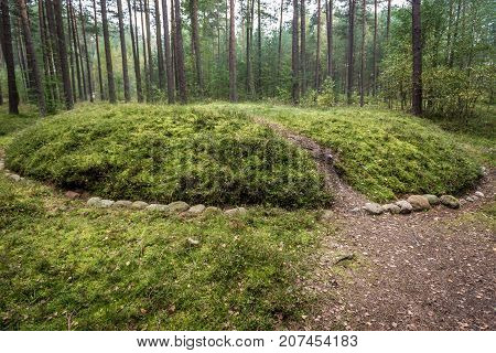 Graves of Stone Circles Archaeological Site in Lesno Cassubia region of Poland