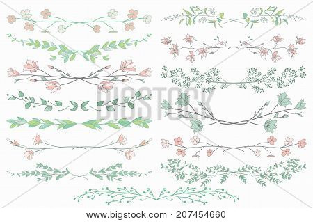 Colorful Hand Drawn Doodle Dividers, Line Borders with Branches, Herbs, Plants and Flowers. Decorative Vector Illustration. Floral Dividers Collections