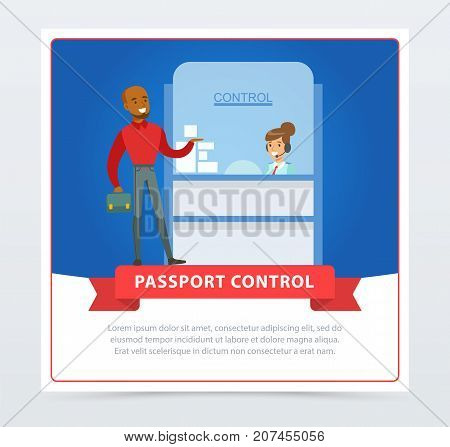 Passport control at the airport. Man standing on checking point. Characters traveler and airlines clerk woman. Registration terminal, check tickets. Flat vector illustrations. Business travel concept.