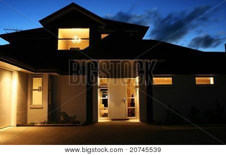 Modern House Exterior At Night