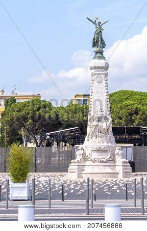 La ville de Nice monument shooted at daylight, Cote D'azur, France.