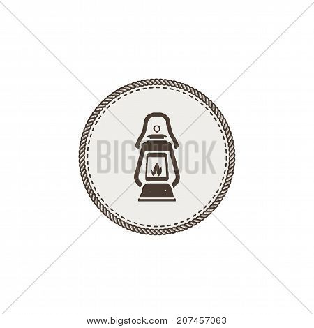 Vintage camping lantern patch isolated on white background. Retro gas lamp with glowing fire wick. Stock Vector illustration. Retro hand drawn design.
