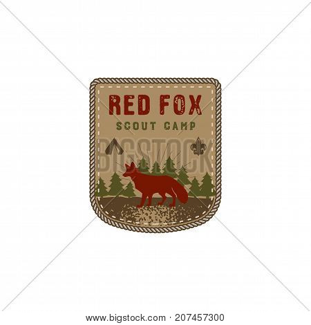 Hiking club badge. Scout adventure camp emblem. Vintage hand drawn design. Retro colors. Red fox design. Stock vector illustration, insignia, rustic patch. Isolated on white background.
