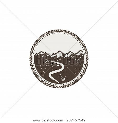 mountain patch and sticker. Vintage hand drawn outdoor adventure design. Mountains top, peak symbol. Camping icon. Stock vector isolated on white background.