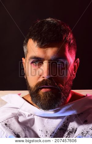 Halloween Man With Bearded Face In White Clothes