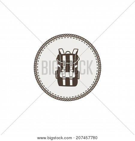 Backpack icon, patch and sticker. Vintage hand drawn outdoor adventure design. Camping icon. Stock vector isolated on white background.