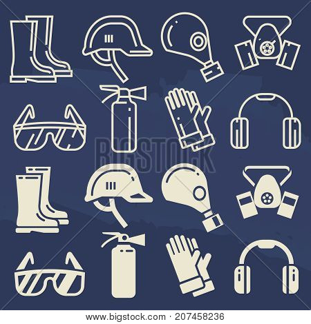 Personal protective equipment icons set - safety work protection elements. Vector illustration