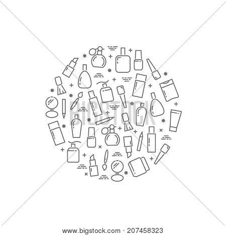Line cosmetics accessorises round concept on white background. Vector illustration
