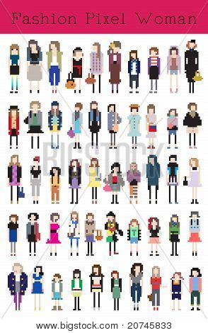 Fashion Pixel Woman - Vector Illustration