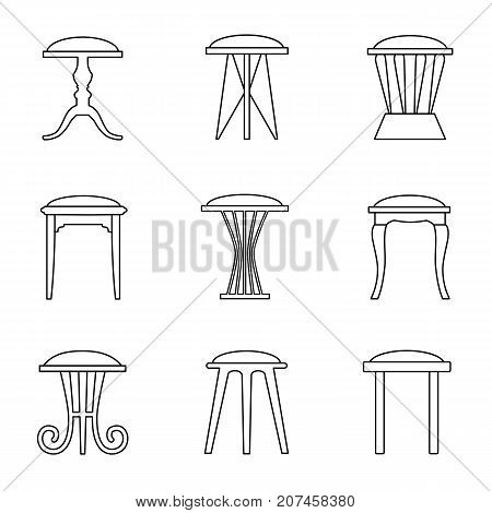 Vector stool in outline style. Linear icons of chairs.