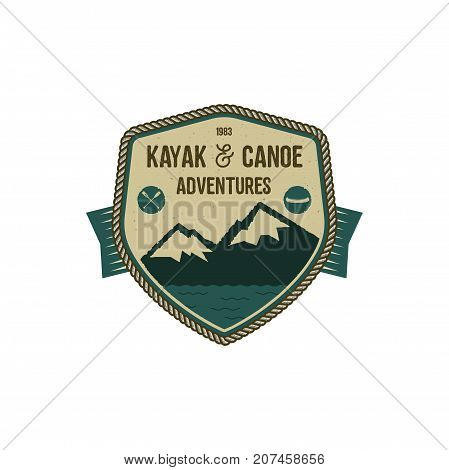 Kayak and Canoe adventures badge. Scout adventure camp emblem. Vintage hand drawn design. Retro colors. Stock vector illustration, insignia, rustic patch. Isolated on white background.