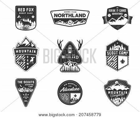 Traveling, outdoor badge collection. Scout camp emblem set. Vintage hand drawn design. Black, monochrome design. Stock vector illustration, insignias, rustic patches. Isolated on white background.