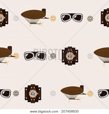 Seamless square pattern with steampunk accessories like old fashioned dirigible aviator glasses and watch clocks on beige background