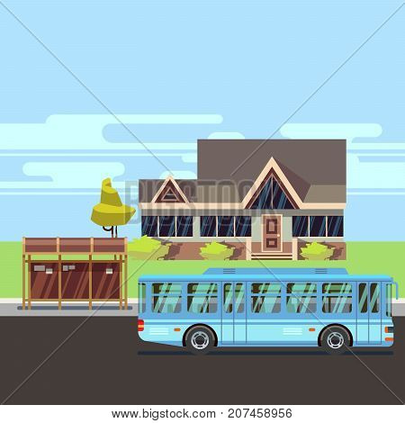 Residential old-style house with bus stop. Flat vector illustration