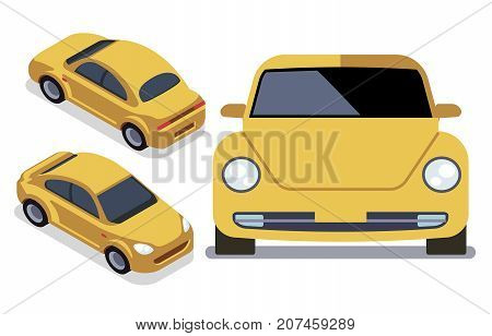 Vector flat-style cars in different views. Yellow isometric car cab illustration