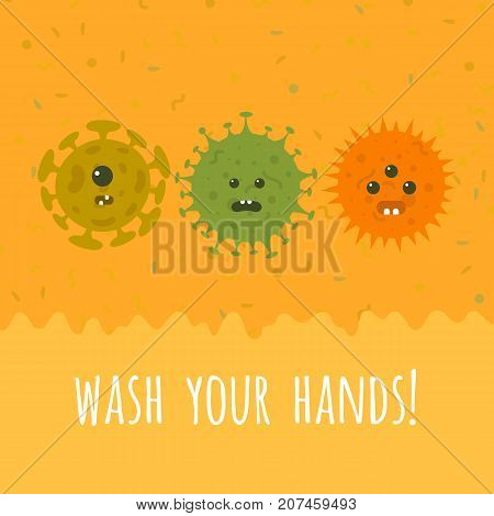 Illustration of cartoon microbes and text. Wash your hands vector banner