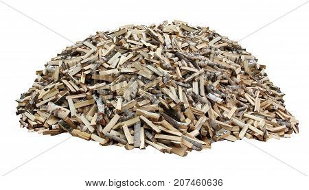 Pile of wood woodpile isolated on a white background. Wood chopped with an axe and the logs.
