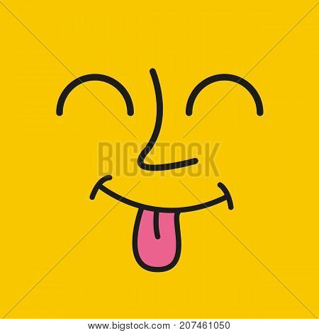 Cartoon face. Emoticon wink design. Emoticon show tongue on yellow background. Vector stock.