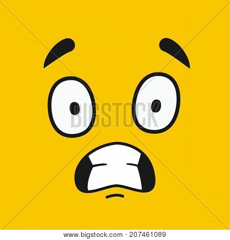 Cartoon face. Emoticon wink design. Emoticon  face on yellow background. Vector stock.