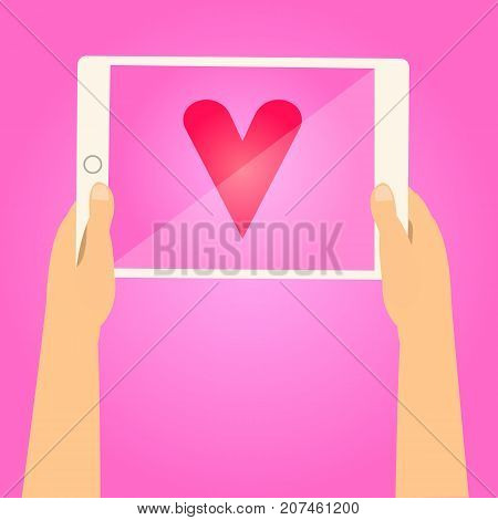 Hands holding tablet and show red heart on screen with pink background.Valentine day concept.Tell the love on tablet vector illustration