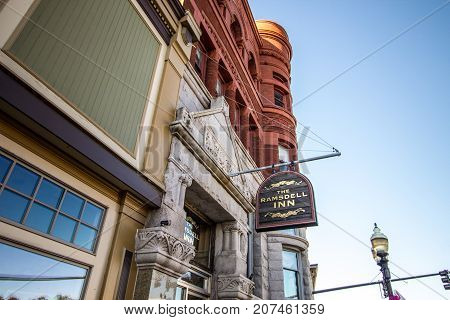 Manistee, Michigan, USA - October 1, 2017: Built in 1891, the historic Ramsdell Inn is a restored boutique hotel with a popular pub located in downtown  Manistee.