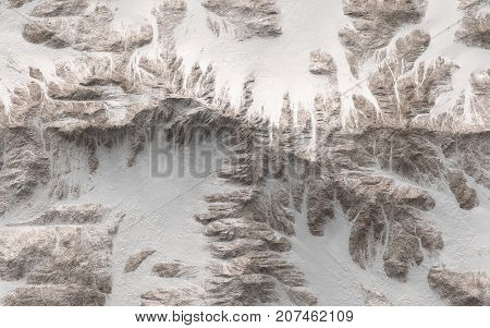 Top view of snowy mountains - 3d render illustration