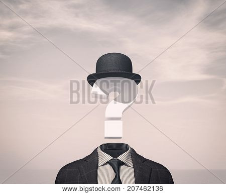 Business man with a question mark instead of head . 3d render illustration