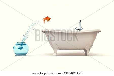 Need more space concept - goldfish jumping from bowl in bath. 3d render illustartion