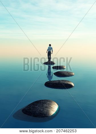 The young man sits on a large stone in the middle of the sea. This is a 3d render illustration