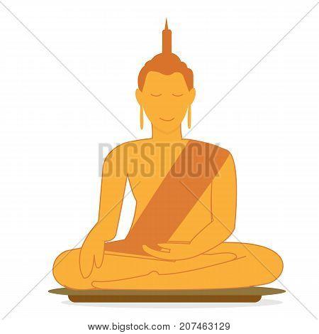 Buddha statue vector.Buddha sitting on base with relaxing.Flat buddha illustration