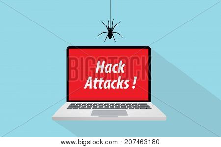 hack attacks concept illustration with laptop and spider sign symbol vector