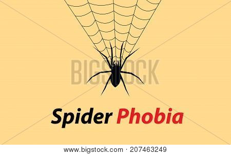 spider phobia concept illustration with web and text banner vector