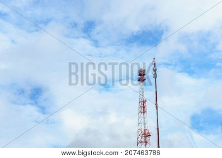 telecommunication tower for radio wave or mobile cellular with beautiful clear blue sky and little clouds. telecommunication and network connected concept.