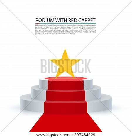 Podium star with red carpet, Red stairs background, Vector illustration