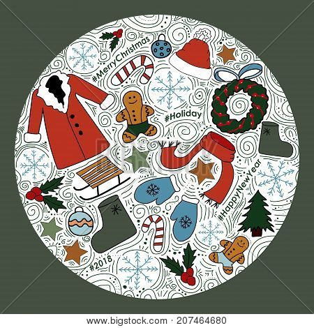 The circle with New Year images. Vector Illustration.