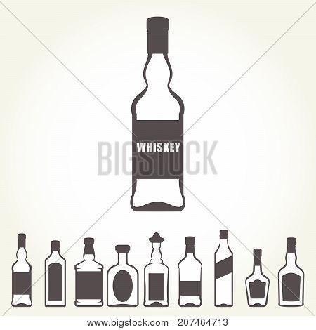 Row of icons of alcohol bottels - booze set