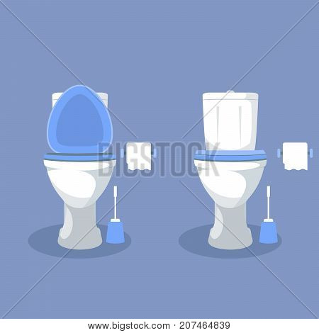 Toilet bowl with open toilet seat paper and brush - wc