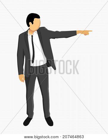 Businessman in jacket points. Clean vector illustration