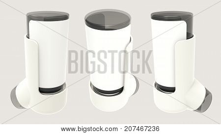 White asthma inhaler isolated on a grey background. 3D render