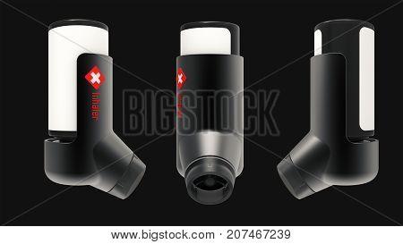 Asthma inhaler isolated on a dark grey background. 3D render