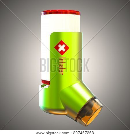 Asthma inhaler isolated on a grey background. 3D render