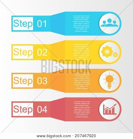 Business infographics. Template with 4 elements, steps, options, parts or processes.