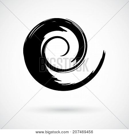Hand painted swirl symbol. Handmade with ink brush. Graphic design element. Concentric curvy shape, swirling swash. Ornamental movement shape. Decorative art paint blob. Vector illustration.