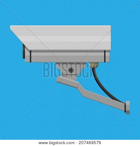 Security camera. Surveillance remote camera. Safety and protection equipment. Vector illustration in flat style
