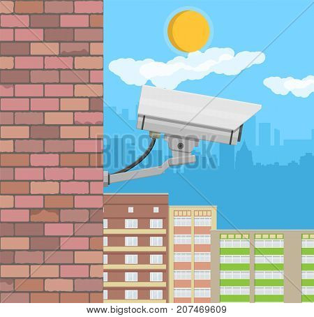 Security camera on wall. Surveillance remote camera. Safety and protection equipment. Cityscape with buildings, sky, cloud, sun. Vector illustration in flat style