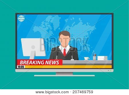 Modern flat screen tv with news, desktop pc, coffee, world map. News announcer in the studio. Journalism, live report, breaking hot news, television and radio casts. Vector illustration in flat style