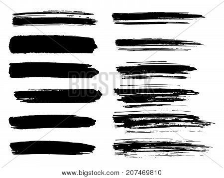 Painted Grunge Stripes Set. Black Labels, Background, Paint Texture. Brush Strokes Vector. Handmade